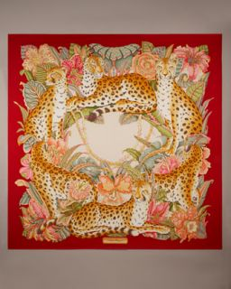Salvatore Ferragamo Gattopardo Printed Silk Scarf