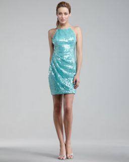 Hoaglund New York High Neck Sequin Swan Dress