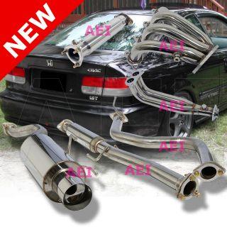Honda Civic 2D 4D 96 00 Complete Catback Exhaust Muffler Header Pipe