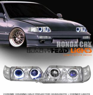 90 91 Honda CRX CR x Chrome Halo Projector Headlights Euro Clear