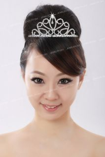 Silver Plated Crystal Bride Headband Tiara Hair Alice Band w 2 Comb