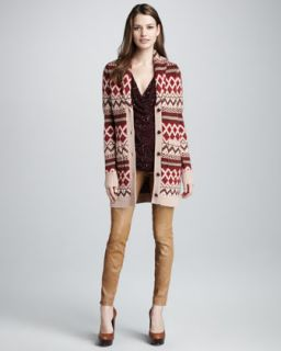 3WY2 Haute Hippie Fair Isle Sweatercoat, Sequined Top & Leather Pants