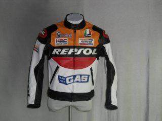 REPSOL HONDA MOTORCYCLE RACING BIKERS JACKET PU LEATHER S M L XL XXL