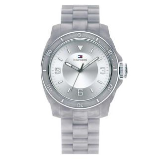 New Tommy Hilfiger Women 1781199 Acrylic Grey Band Round Dial Watch