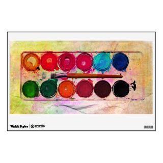 Fine Art Paint Color Box & Funny Artist Brush Room Sticker