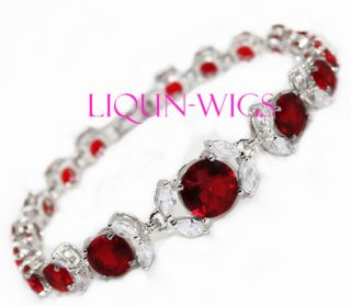 Charming Jewelry Silver Shining Wine Red Crystal Womens Bracelet