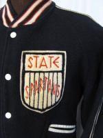 Vintage 60s State Spartans Navy Wool Varsity Jacket Retro Shirt L