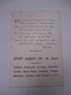 Early 1900s Heydt Bakery Company Trade Card Lil Conductor