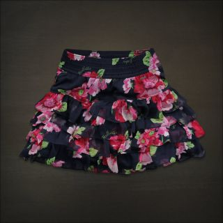 Hollister Women Navy Blue Floral Tiered Ruffle Mini Skirt Big Dume