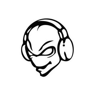 Alien Disc Jockey DJ   Cartoon Decal Vinyl Car Wall Laptop