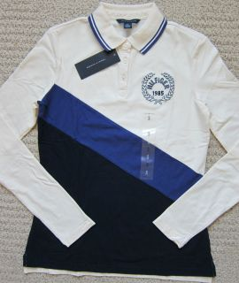Tommy Hilfiger Navy Natural Premium Long Sleev Polo Shirt Womans $49