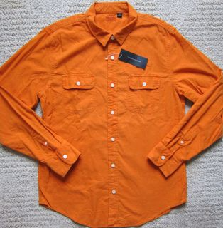 Tommy Hilfiger Orange Premium Denim Shirt Mens M L XL $68