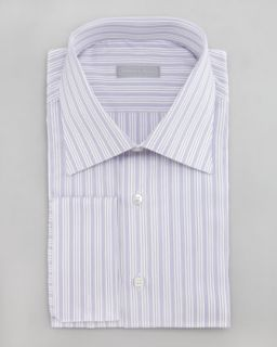 M04T2 Stefano Ricci Striped Dress Shirt, White/Purple