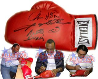 RARE Hearns Leonard Duran Signed Boxing Glove Proof