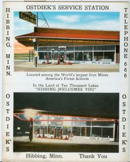 Ostdieks Service Station Hibbing Minnesota Visible Gas Pumps Post