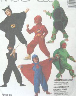 Childs Superhero Costume Pattern Cowl Jumpsuit Hood Cape Belt McCalls
