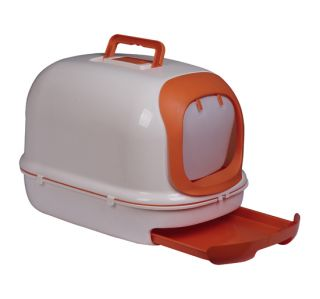 New Large Split Hooded Cat Litter Box Litter Pan with Scoop Orange