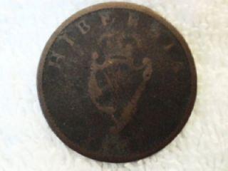 1875 Hibernia Ireland Irish Copper Coin