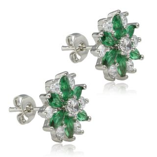 HOT! FASHION JEWELRY GREEN EMERALD MARQUISE CUT 18K WHITE GOLD PLATED