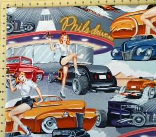 Henry Phils Drive in Fabric Retro Vintage Rockabilly Hot Rods