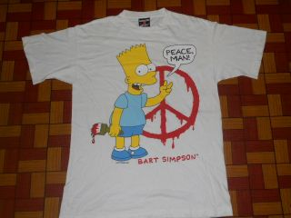 EARLY 90s BART SIMPSONMATT GREONING HEATHER PEACE MAN WHITE SHIRT