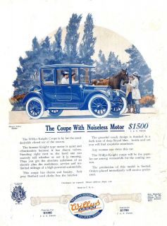 KNIGHT COUPE Car AD. Noiseless Sleeve Valve Motor + Houk WIRE WHEELS