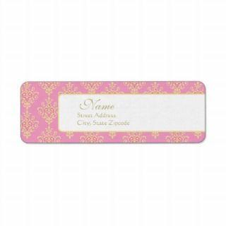 Pink and Gold Damask Return Address Label