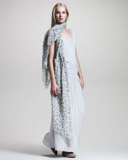 45UX Brunello Cucinelli Sleeveless Knit Combo Dress & Peacock Print