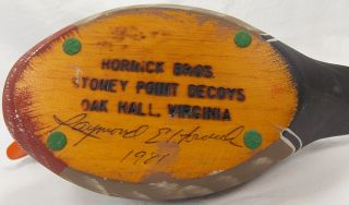 1981 Ray Hornick Bros Carved Wooden Duck Signed Hand Painted Glass