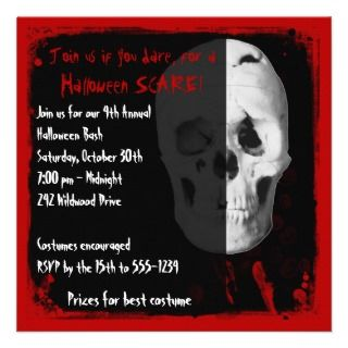 Bloody Skull Adult Halloween Party Invitation