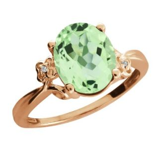 66 Ct Oval Green Amethyst Topaz 14K Rose Gold Ring Jewelry