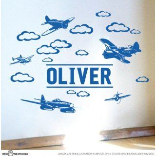 Custom Name Plane Vinyl Wall Sticker for Boys Removable