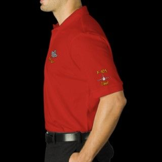 Golf Polo W/F 105, Wings, and Call Sign embroidered shirts by