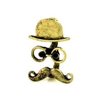 Girly Antique Gold Tone Double Hat and Mustache Ring with Black