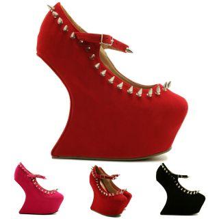 New Womens Heel Less Sculptured Spike Stud Concealed Platform Shoes