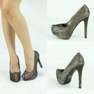 Champagne Gold Blk Mesh Lace High Heel Platform Stiletto Women Sandal