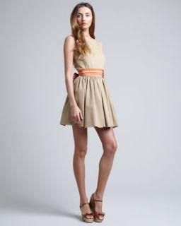 T5U1Y RED Valentino Striped Sash Waist Dress, Khaki