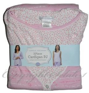 New Carole Hochman 3 PC Tank Shirt Cardigan Pants Pajama PJ Set Pink