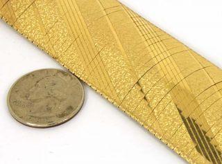 Hefty Wide 14k Solid Gold Textured Ladies Cuff Bracelet
