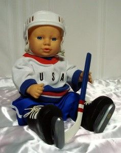 17 Vinyl Doll Dressed in Hockey Uniform Complete with Pads Skates
