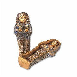 Egyptian Mini King Tut Coffin with Mummy Egyptian Statue