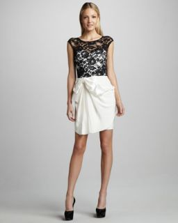 T5T9K Notte by Marchesa Draped Lace Top Cocktail Dress