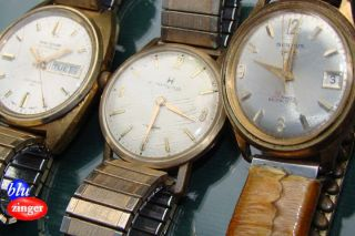 Vintage Mens Wristwatches 3 Watches Waltham Hamilton Benrus