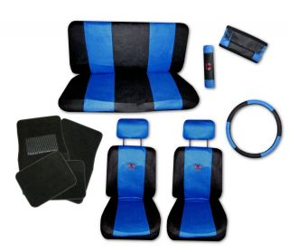 Sport Jersey Blue Black Car Truck Seat Covers 9pc Pkg with Black Floor