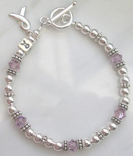 Sterling Silver & swarovski crystal Hodgkins Disease Awareness