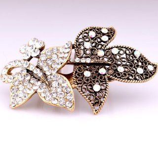 Gold Plated Twin Leaves Design Decorating Hair Comb with Clear Crystal