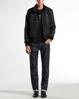 46BW Gucci Light Padded Bomber Jacket, Stud Logo Tee & Five Pocket