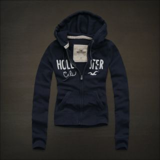 Hollister Women Navy Blue Zip Fleece Zip Logo Hoodie Sweatshirt Jacket