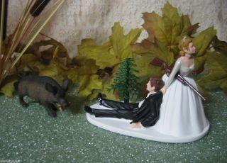 Humorous Wedding Hog Wild Boar Hunter Hunting Cake Topper
