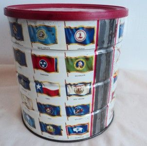 VINTAGE 1970 HILLS BROS. COFFEE TIN FLAGS OF THE FIFTY STATES U.S.A